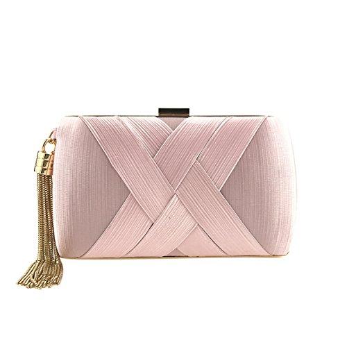 Flada mujeres y damas satén noche bolsas de boda embragues bolsos con borla colgante rosa