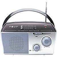 Nevir NVR-118 Lux Plata - Radio (Portátil, Analógica, AM, FM, 3W, 22,5 cm, 7,5 cm)