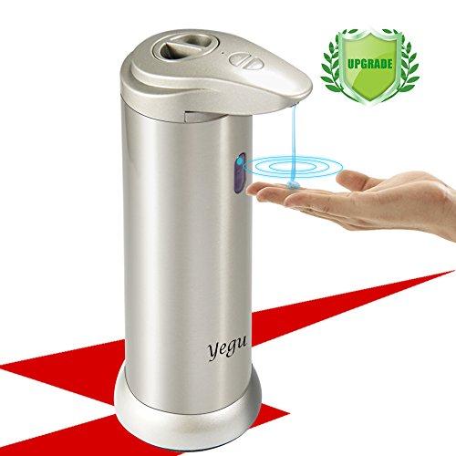 Automatischer Seifenspender,Yegu Infrarot Sensor Gebürstetem Edelstahl Seifendosierer Touchless mit Wasserdichtem Basis für Küche und Bad