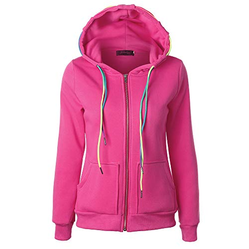 ESAILQ Mode Damen Hoodie Sweatshirt mit Kapuze Mantel Zipper Jacke(XL,Rosa) Lightweight Hooded Pullover Sweatshirt