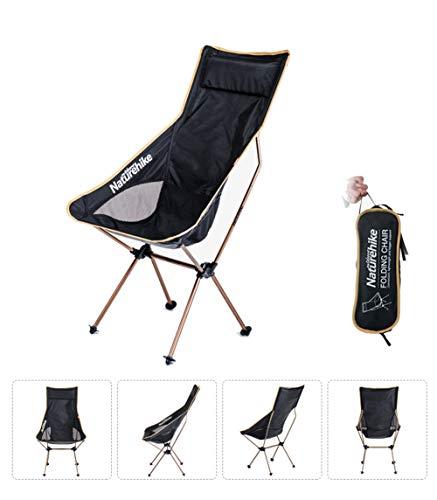 VIWIV Tragbarer Klappstuhl Im Freien, Ultraleicht Für Camping-Strandkorb-Fischen, Das Schemel Skizziert, Kann 90KG Tragen,Gold