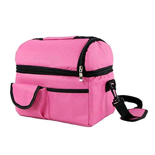 Meijunter Women Men Bambini Lunch Picnic Carry Tote Conservazione Borsa Lunch Box Portable Impermeabile HandBorsa Insulated/Refrigeratore Pink