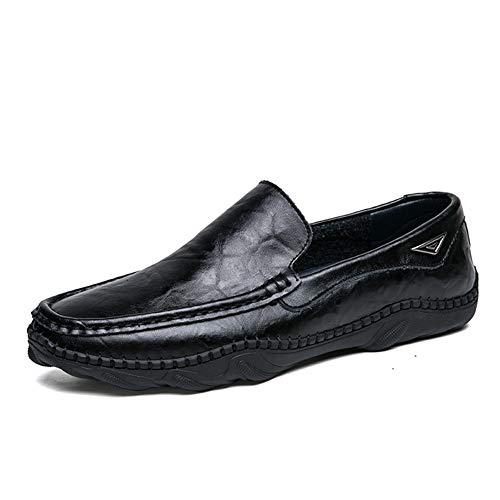 Lässige und bequeme Bootsschuhe Battle Driving Loafers für Männer Peans Schuhe Slip On Kunstleder Volltonfarbe Bootsschuhe Erfahrene genähte Lug Sole Vegan atmungsaktive flache Schuhe Klassische Retro -