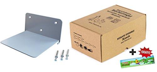 3Kamido Metálica Estante invisible, Estantería flotante de acero con efecto invisible, profesional y sólido, colores: negro, blanco, gris (1 - pack, Gris)