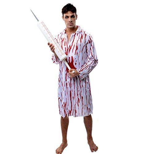 GEXING Halloween Mantel Zombies Gefälschtes Blutplasma Blutiger Horror Krankenschwestern Ärzte Kleidung Gefangenen,B-170-185CM (Niedliche Zombie Kostüme Für Mädchen)