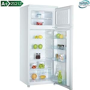 Frigorifero Doppia Porta Daya Classe A+ Statico Bianco Capacità 212 LT effettivi, con Freezer , Colore Bianco, Frigo DDP-29H4, Bakaji