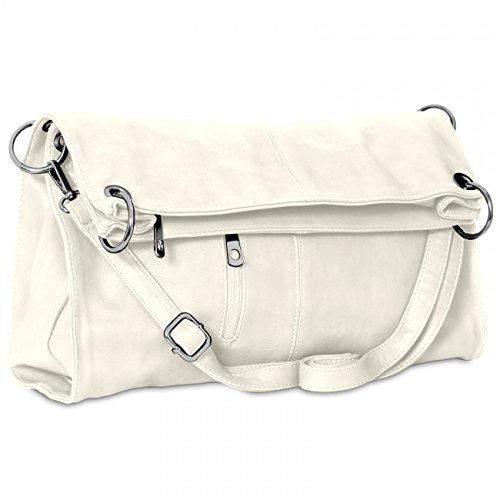 CASPAR TS561 Damen Multifunktions Schultertasche / Umhängetasche Weiß