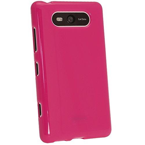 igadgitz Hot Pink Rosa Glänzend Dauerhafte Kristall Gel Tasche TPU Hülle Schutzhülle Etui für Nokia Lumia 820 Windows Smartphone Handy + Displayschutzfolie