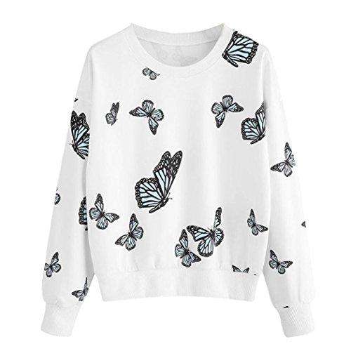 Rcool Damen damen- Runde Hals Schmetterling bedruckt Oberteile Damen Langarmshirt Stretch Fit T-Shirt Oberteil (Weiß, L/40EU) (Wolle Pant Gestreifte Slim)