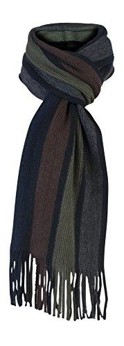 Giovanni Cassini - Luxe rayures écharpe pour les hommes (Scarf) (brun kaki)