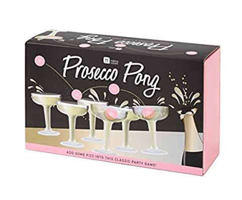 Talking Tables Prose-Pong Classic Party Game containing 12 Plastic Prosecco Glasses and 3 Pink Pong Balls for Birthdays, Celebrations,
