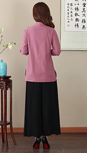 ACVIP Rétro Veste de Tang Style Chinois Traditionnel avec Manche Longue Blouse en Coton de Chanvre Rose
