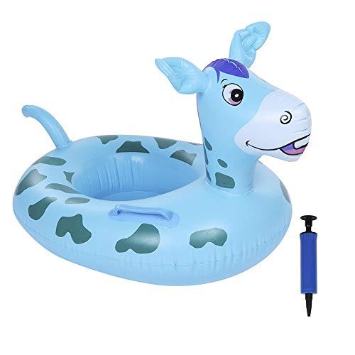Biitfuu Baby-Schwimmen-Floss-Kleinkind-Pool-Floss-aufblasbares nettes Karikatur-Rotwild-Floss-Schwimmen-Ring-Boot mit Pumpen-Inflator(Blau) (Float Inflator)