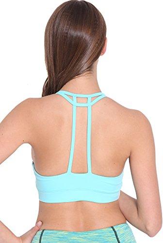 Running Girl Women's Sports Bra Quick Drying Medium Impact Removable Padded Tops Backless Gym Crop Yoga Workout Vest Hellgrün