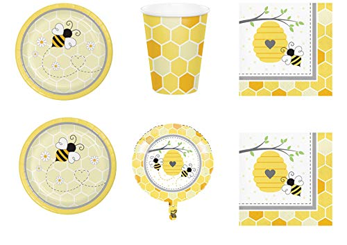 Party Store Web by casa süße API Miele Coordinato ADDOBBI TAVOLA Festa API Miele Bee Kit Nr. 20 CDC-(40 Tellern, 40 Bechergläser, 48 TOVAGLIOLI,1 Ball Foil) (Bee Milch)