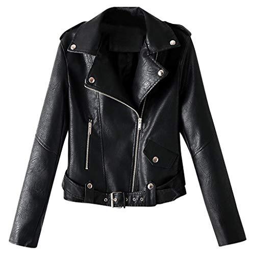 Makefortune - Damen PU Lederjacke, Bikerjacke mit Reißverschlusstaschen, Vintage Short Jack für Herbst, Winter