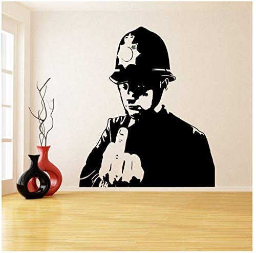 Ein Mann Mit Einem Schutzhelm Daumen Hoch Wandaufkleber Für Wohnzimmer Polizei Mittelfinger Room Decor Wandbilder Tapete Decoration56X66cm