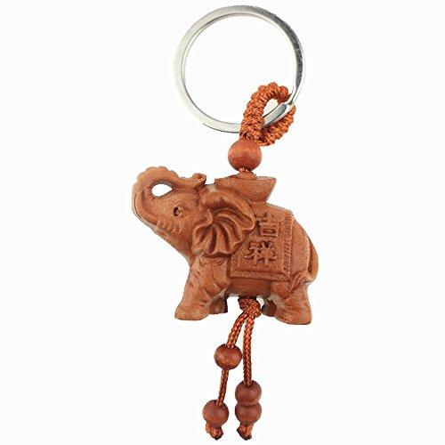 Muzuri - Llavero de madera, diseño de elefante de Fengshui para protección, fortuna y suerte, con una pulsera de cuerda roja de la suerte