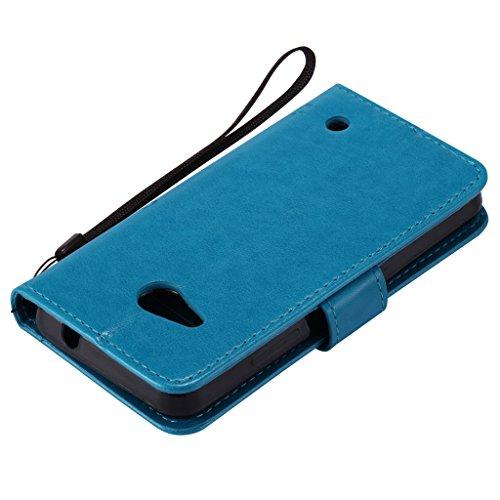 Custodia Microsoft Lumia 550 Cover Case, Ougger Fortunato Foglia Stampa Portafoglio PU Pelle Magnetico Stand Morbido Silicone Flip Bumper Protettivo Gomma Shell Borsa Custodie con Slot per Schede (Por Azzurro
