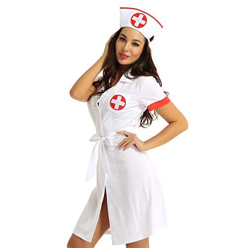 Freebily Damen Krankenschwester Kostüm Sexy Minikleid Mantel Lingerie Cosplay Uniform Versuchung Kleid Halloween Karneval Fasching Kostüm Weiß X-Large