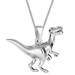 3D Dinosaurier Anhänger mit Kette 925 Echt Silber Mädchen Damen Halskette Dino