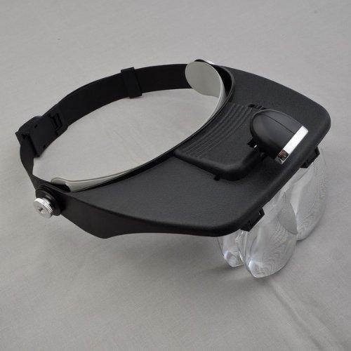 U-Style® Profi Kopfband-Lupen-Set - Lupenbrille Lupe mit Stirnband 4 Linsen + Licht