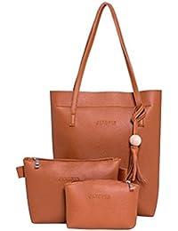 3 Pcs Women Lady PU Leather Handbag Shoulder Bag Tote Purse Messenger Bag (Yellowish-Brown)