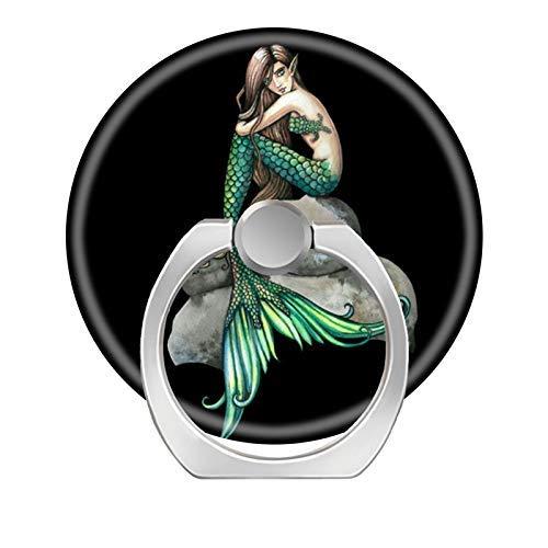Handy-Ringständer, 360 Grad drehbar, mit Fingerring-Halterung, Haken für iPhone X/Xr/XS Max, iPhone 6/7/8 Plus, Galaxy S8/S9 Plus, Smaragd Meerjungfrau Fantasy Art