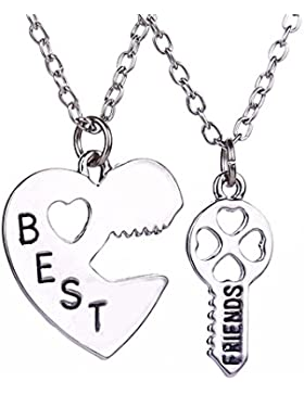 lureme® Mode Schmuck Legierung Friendship Best Freunde Halskette 2 Pieces Pendant Halskette(nl004226)
