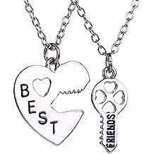 lureme® Mode Schmuck Legierung Friendship Best Freunde Halskette 2 Pieces Pendant Halskette(nl004226)