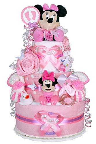 MomsStory - Tarta de pañales, niña, Minnie Mouse Disney, regalo para nacimiento, bautizo,...