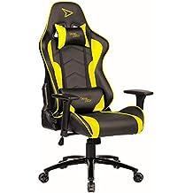 Fauteuil Gaming Steelplay SGC01 Jaune - Siège bureau racing gamer pro chaise sport ajustable dossier réglable et inclinable 90-175° accoudoirs réglables support lombaire ergonomique ordinateur