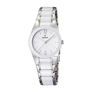 Festina F16534/1 - Reloj analógico de pulsera para mujer (correa de acero inoxidable y esfera blanca) de Festina
