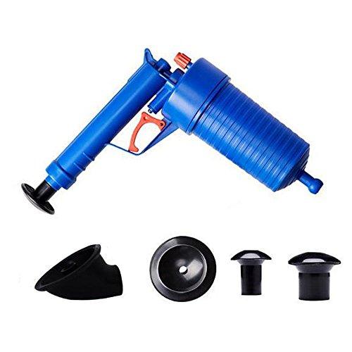 Festnight Praktisch Pressluft Abflußreiniger Rohrreiniger Kunststoff Kolbenart Gebogenen Stecker Pipeline Bagger Werkzeug 4 Düsen für Badezimmer Toilette Spülbecken