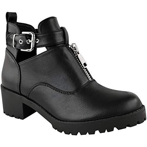 27f5965b2f62 Fashion Thirsty Damen Stiefeletten mit flachem Blockabsatz - Cut-Outs    Reißverschluss - Schwarzes Kunstleder