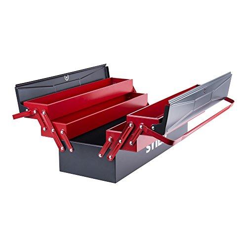 STIER Werkzeugkasten leer | Stahlblech | 520x190x200 mm | 5 Fächer | Werkzeugkoffer | optimal...