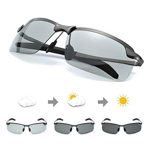 TJUTR Polarisierte Sonnenbrille Herren Photochromatisch Sports für100% UVA UVB Schutz Metallrahmen Leicht ... (Grau/Grau)