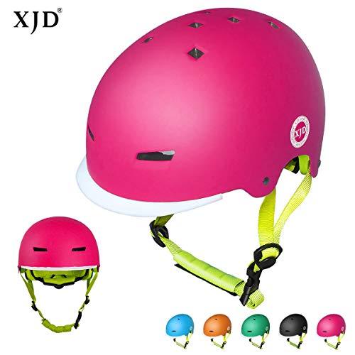 XJD Kinder Fahrradhelm Skaterhelm Kinderhelm CE-Zertifizierung für Fahrrad Skateboard Schifahren BMX für 3-8 Jahre Alt Junge Mädchen (Rosa, M)
