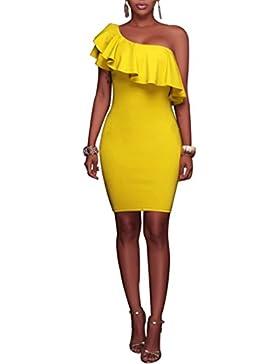 swall owuk manera vestido Mujeres Verano inclinados Hoja de loto vestido amarillo amarillo small
