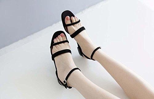 Sandali romani Simple Flat Three Sandals Sandali in pelle per le donne Cinturino alla caviglia Black