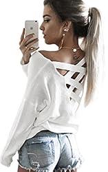 Ecowish V Ausschnitt Oberteile Damen Kreuz Langarmshirts Tops Hemd Shirt - Weiß - EU M