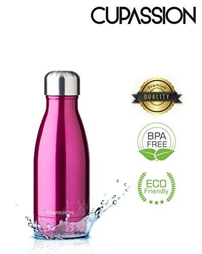 CUPASSION Evi Neon Pink Metallic - Edelstahl Vakuum Isolierflasche 260ml | Trinkflasche Wasserflasche | hält Getränke 18h heiß & 24h kalt | Thermosflasche & Thermoskanne | - Neon Pink Design
