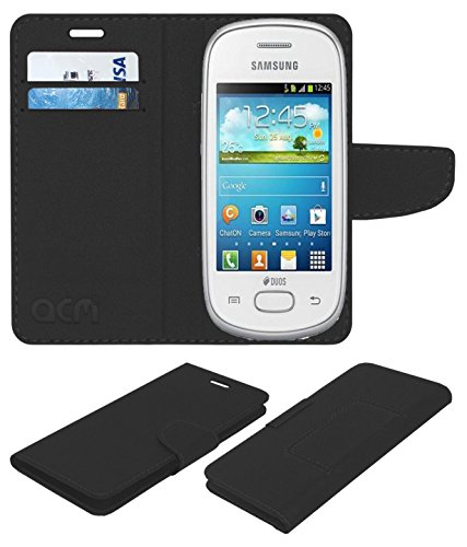Acm Mobile Leather Flip Flap Wallet Case for Samsung Galaxy Star S5280 S5282 Mobile Cover Black  available at amazon for Rs.369