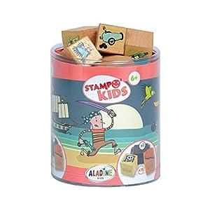 Aladine 3327 Stampominos - Lote de Sellos de Madera y tampón para Decorar, diseño de Piratas