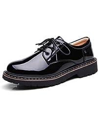 Zapatos Planos Para Mujer Con Cordones Botines Zapatos De Charol Retro Zapatos Oxford De Trabajo Ocasionales
