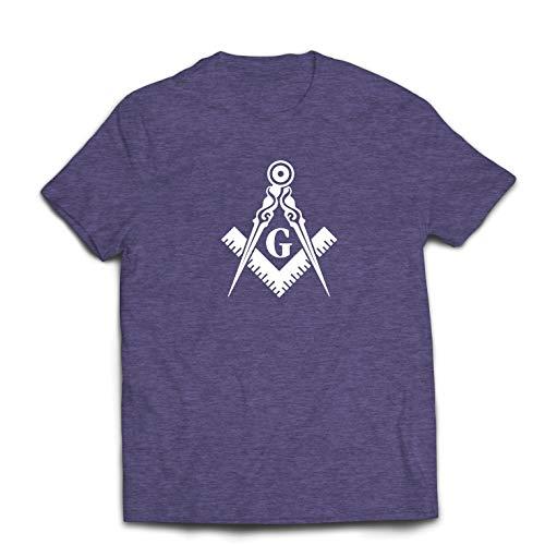 lepni.me Männer T-Shirt Brüderliches und freimaurerisches Logo, Freimaurerplatz und Kompass (Medium Heidekrautgrau Weiß)