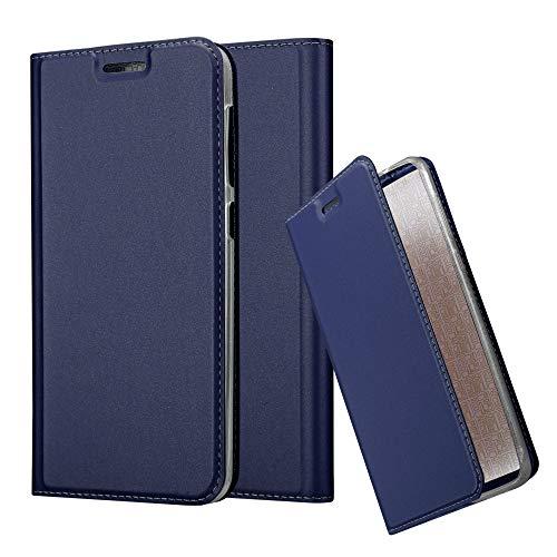 Cadorabo Hülle für HTC Desire 10 Lifestyle/Desire 825 - Hülle in DUNKEL BLAU - Handyhülle mit Standfunktion & Kartenfach im Metallic Erscheinungsbild - Case Cover Schutzhülle Etui Tasche Book Klapp Style
