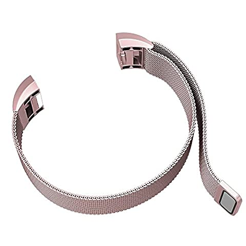 Fitbit Alta Smart Fitness Tracker Band By WandLee, Milanese Loop Stainless Steel Bracelet Strap Replacement Accessories with Unique Magnet Lock, No Buckle Needed (Rose Pink)