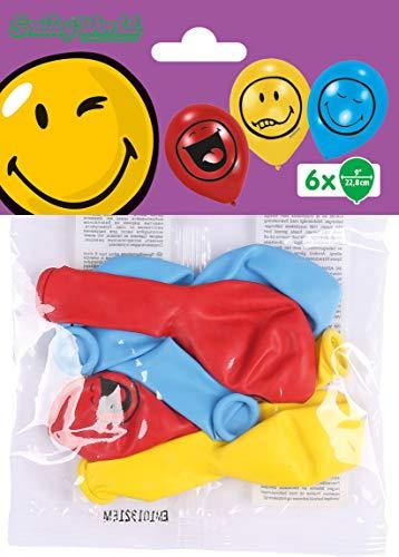 amscan 450296 6 Latexballons Smiley Express Yourself, Blau/Rot/Gelb (Roter Emoji Ballon)