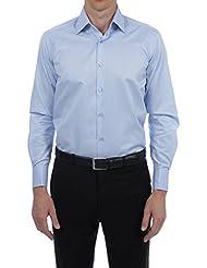 Bruce Field - Chemise homme droite poignet mousquetaire aux fines rayures blanches - Modèle 4201